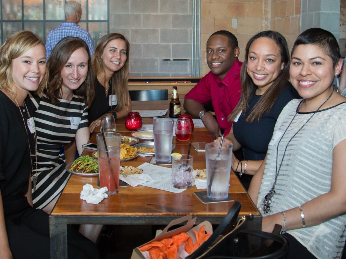 Houston, Casa de Esperanza YP Happy Hour, September 2015, Tara Lopez, Nealy Stuckey, Christina Mullin, Rob Royal, Melanie Chin, Lily Cardenas.
