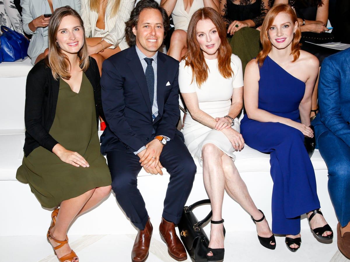 Lauren Bush Lauren, David Lauren, Julianne Moore, Jessica Chastain at RalphLauren spring 2016 runway show