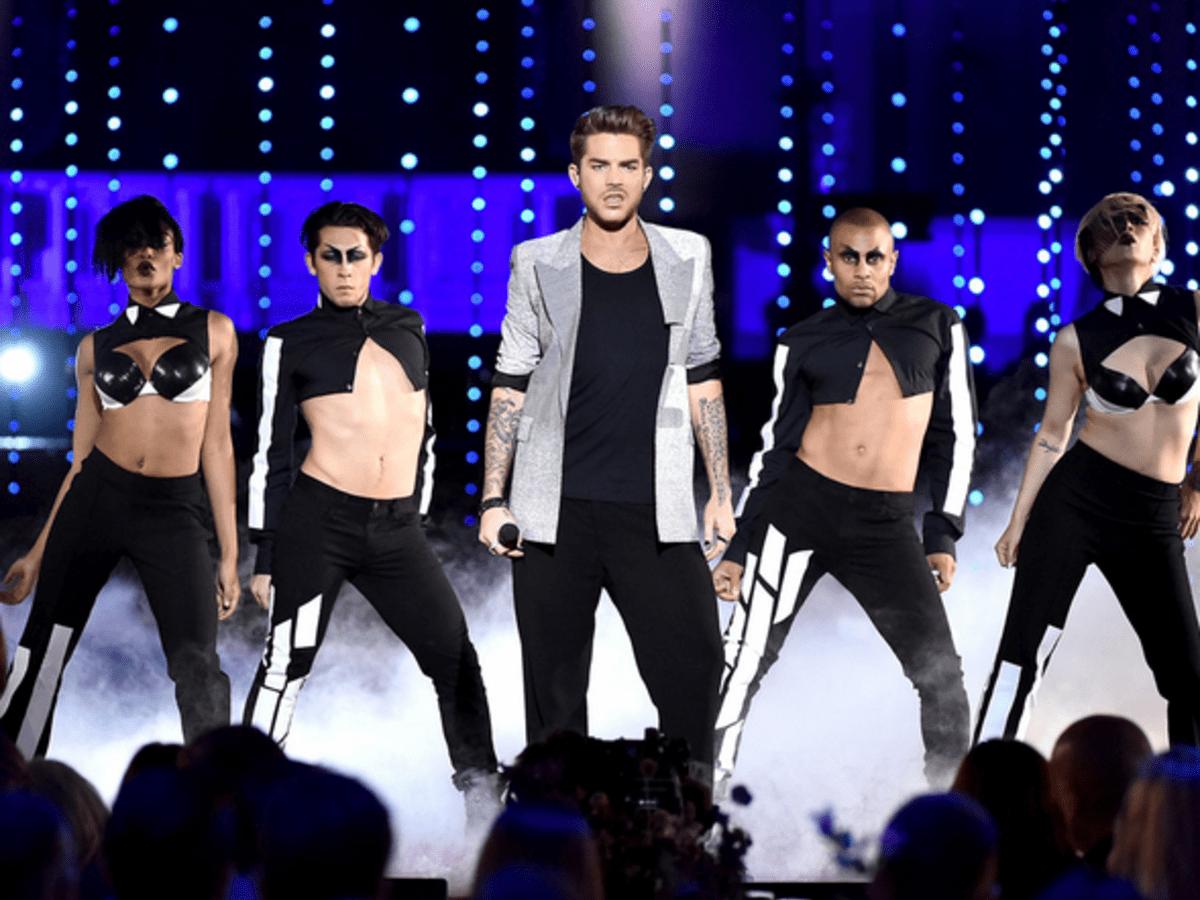 Adam Lambert dancers wearing Cesar Galindo costumes