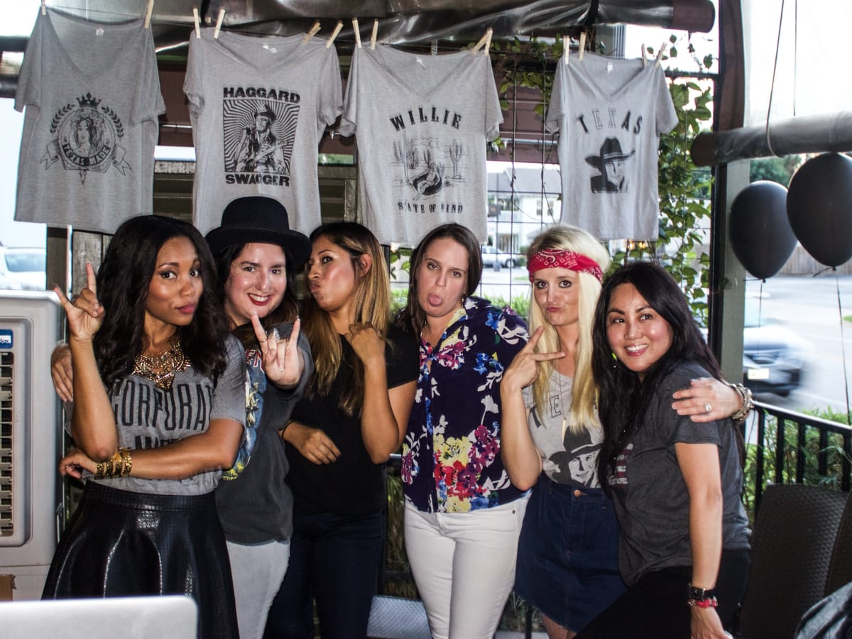 Brittany Darrington, Marisela Flores, Sofia Gutierrez, Rene Lummis, Amy Tyndell, Michelle Oliva at Oil Digger Tees launch party