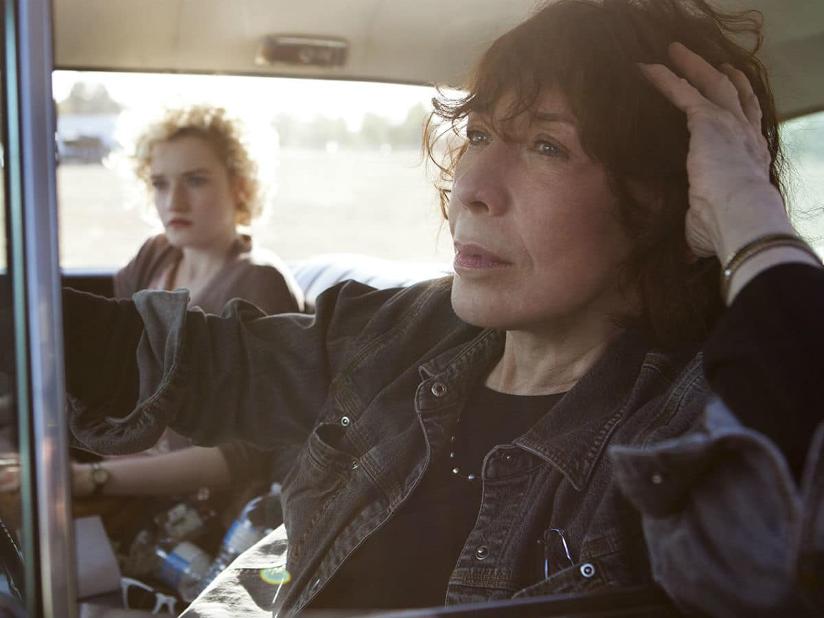 Julia Garner and Lily Tomlin in Grandma