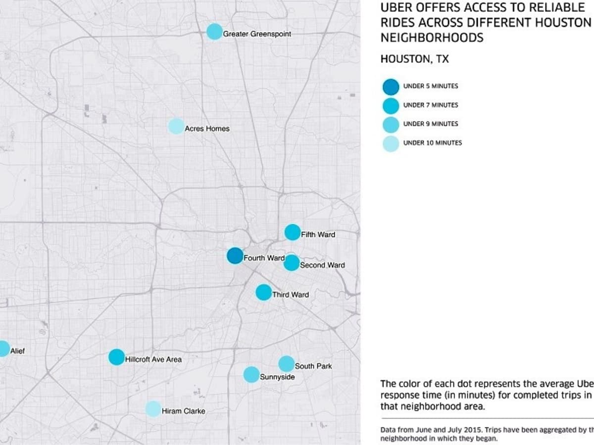 Houston, Uber, August 2015, Uber response time by neighborhood