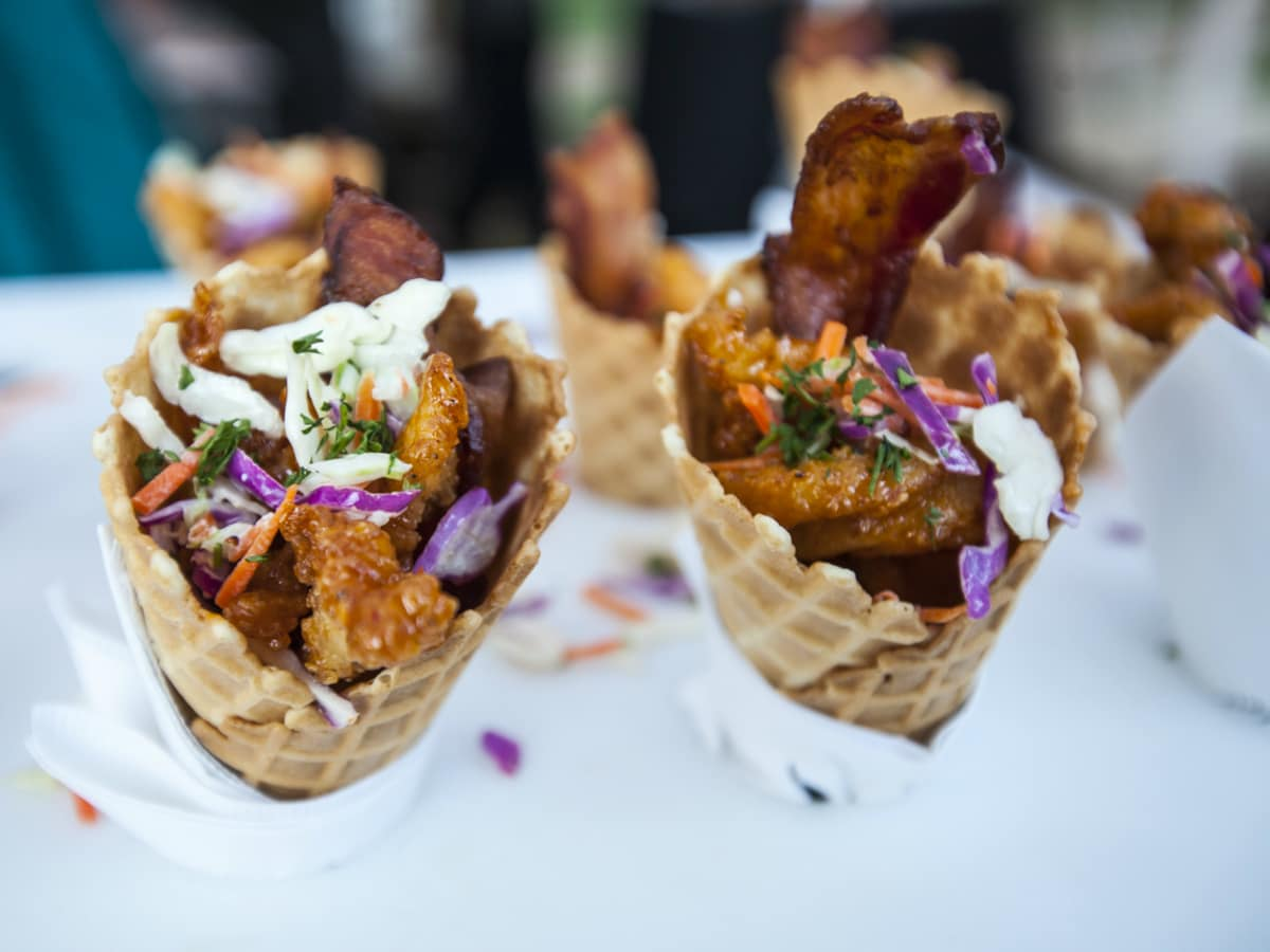 La Dolce Vita Food and Wine Festival The Contemporary Austin chicken waffle cone sample 2014
