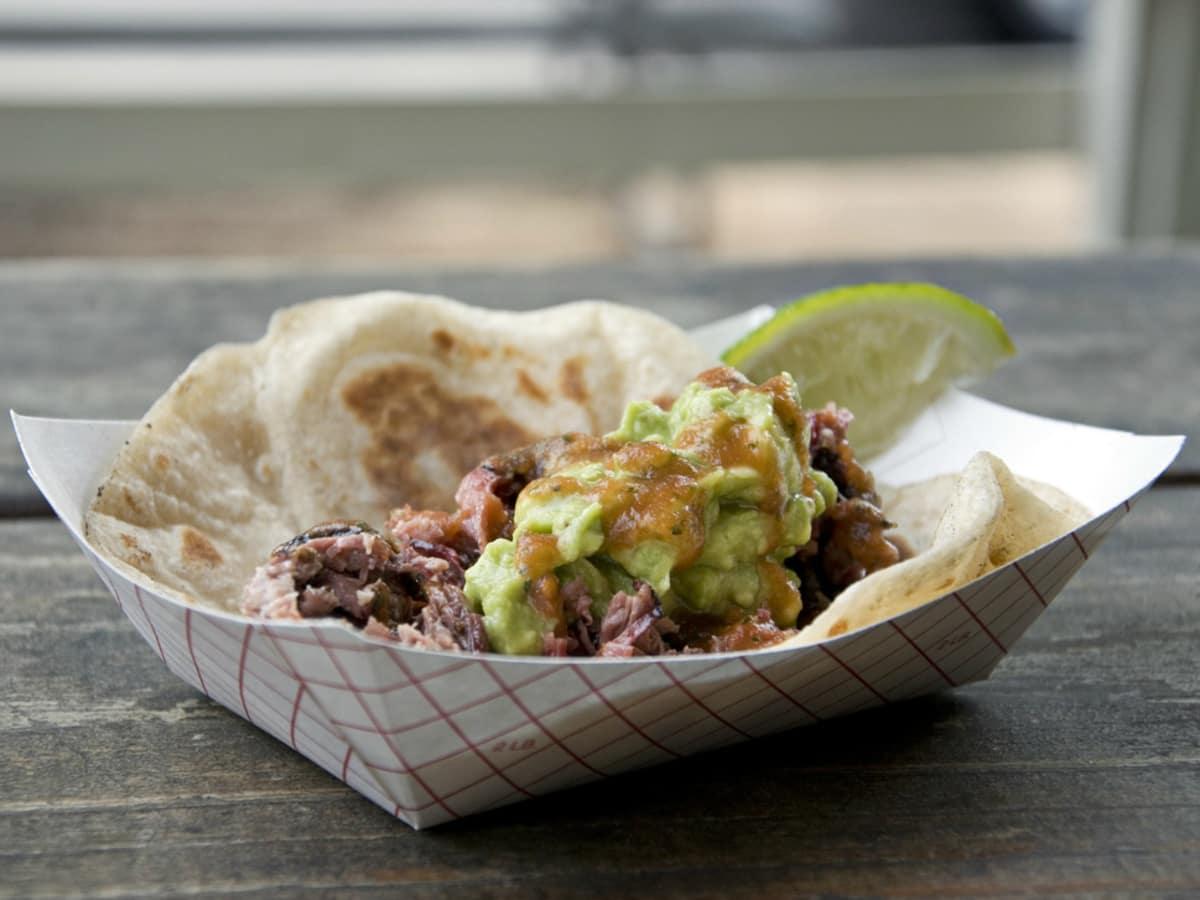 Valentina's Tex Mex BBQ barbecue smoked brisket taco Austin food truck