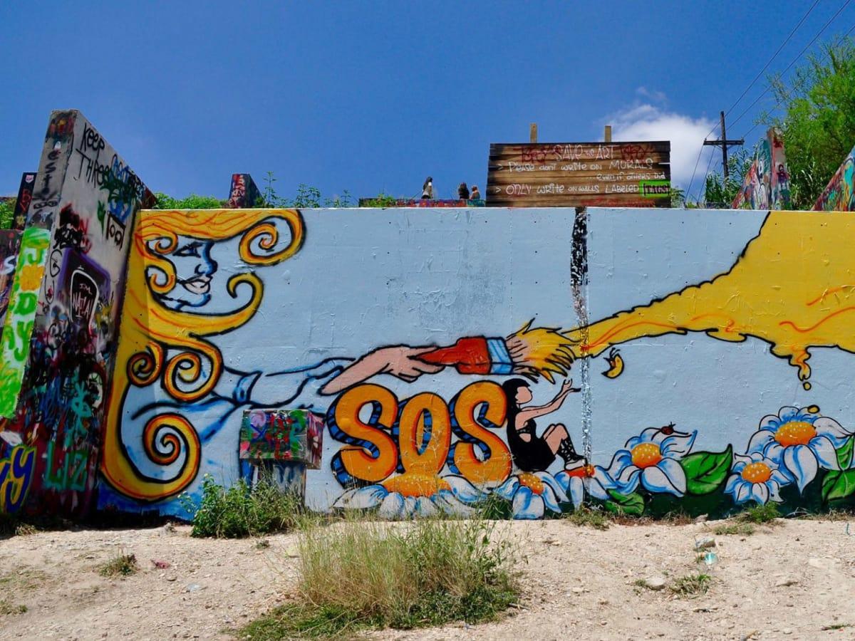 SOS mural Castle Hill Austin
