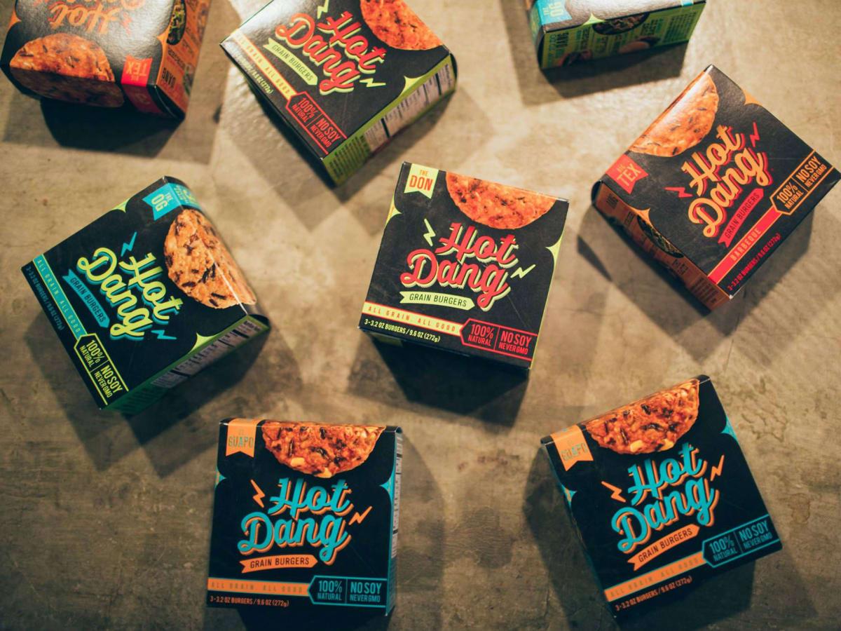 Hot Dang grain burgers vegetarian brand logo box