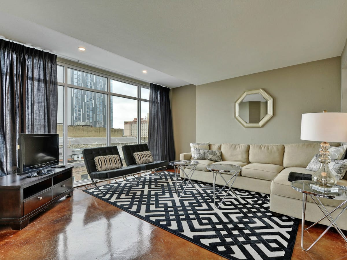 Littlefield Lofts Top downtown Austin Trip Rentals living room 3 2015