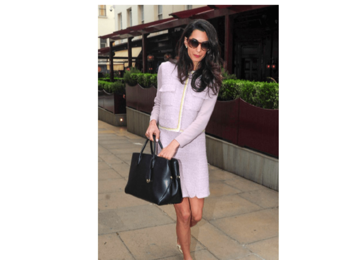 Amal Clooney wearing a Giambattista Valli Pre-Fall '15 sweater and skirt on June 16, 2015 in London.