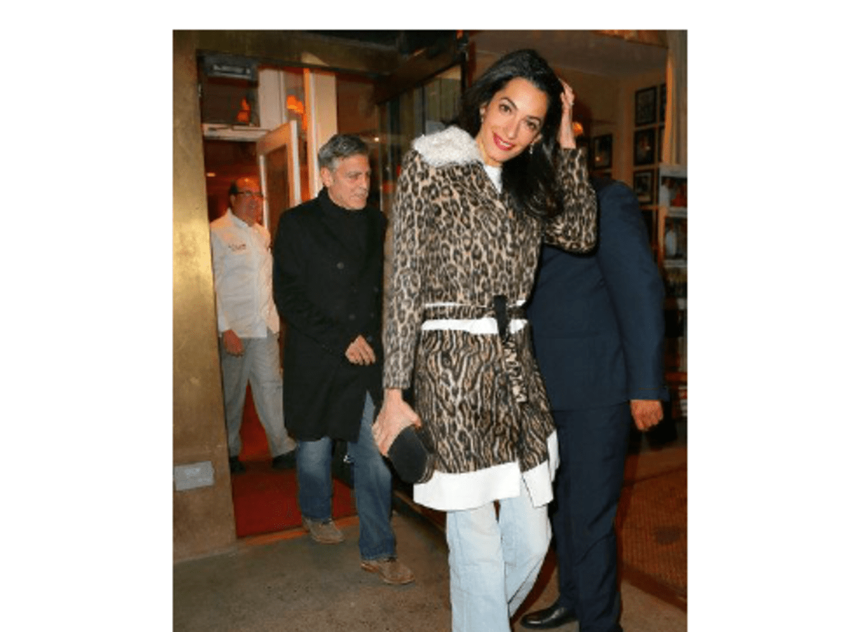 Amal Clooney wearing a Giambattista Valli PF '15 coat on March 23, 2015 in New York City