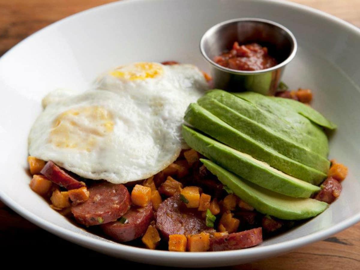 Company Cafe eggs and venison sausage