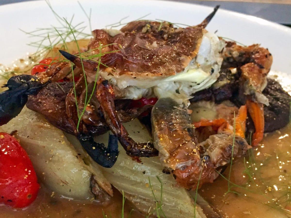 Houston, soft shell crab dishes, June 2017, Coltivare