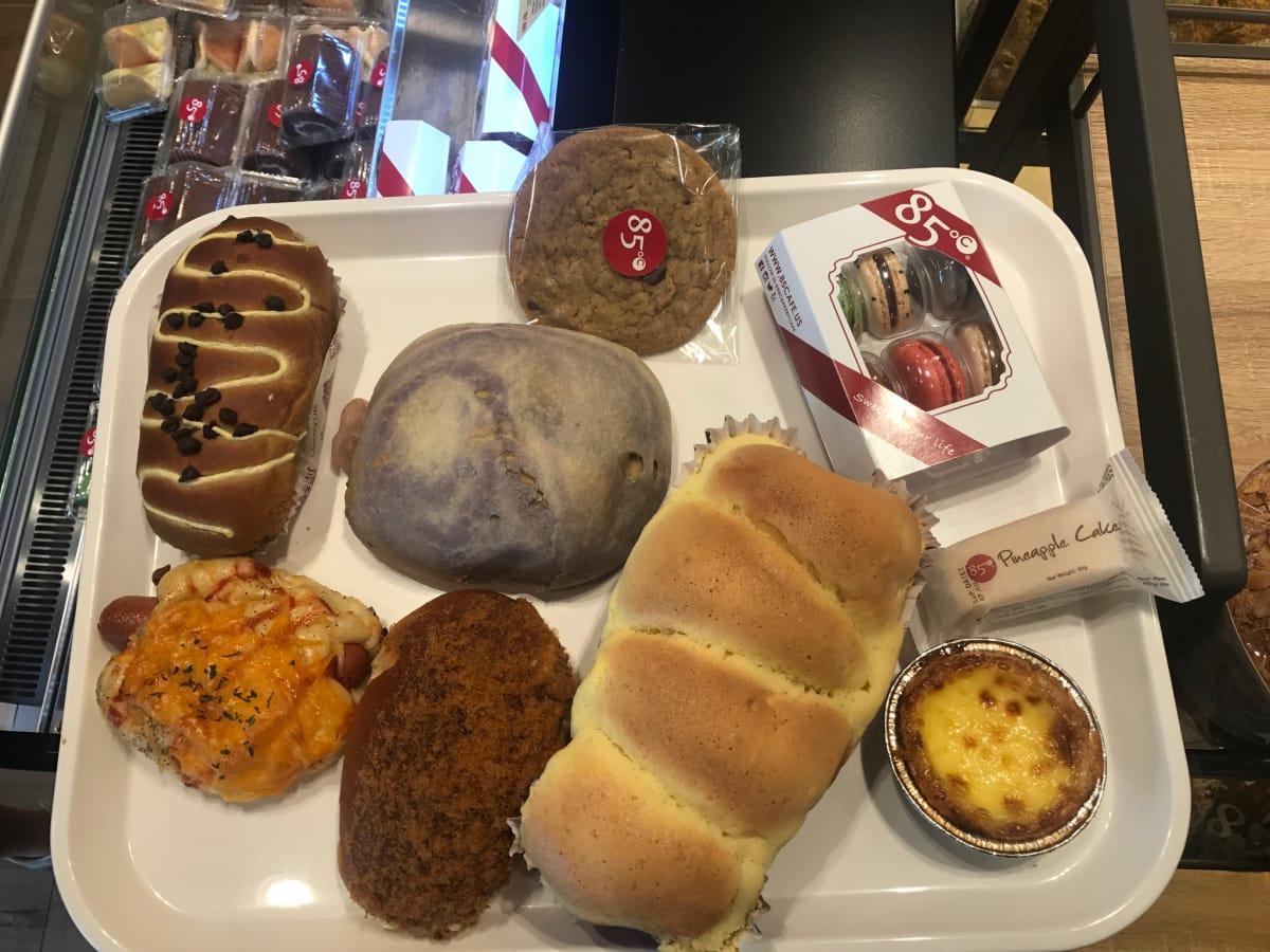 85C Bakery Cafe Houston tray of breads