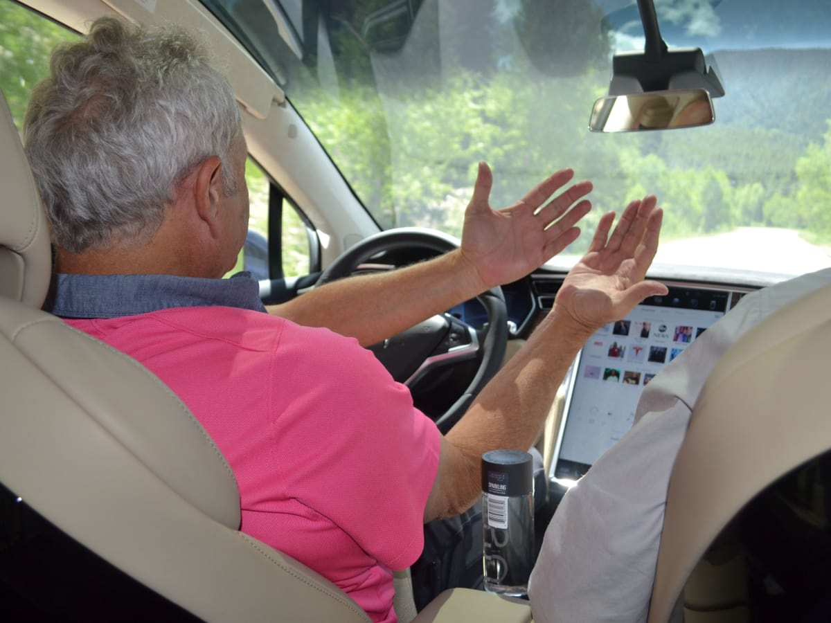 Mickey Altman drives a Tesla without his hands near Aspen