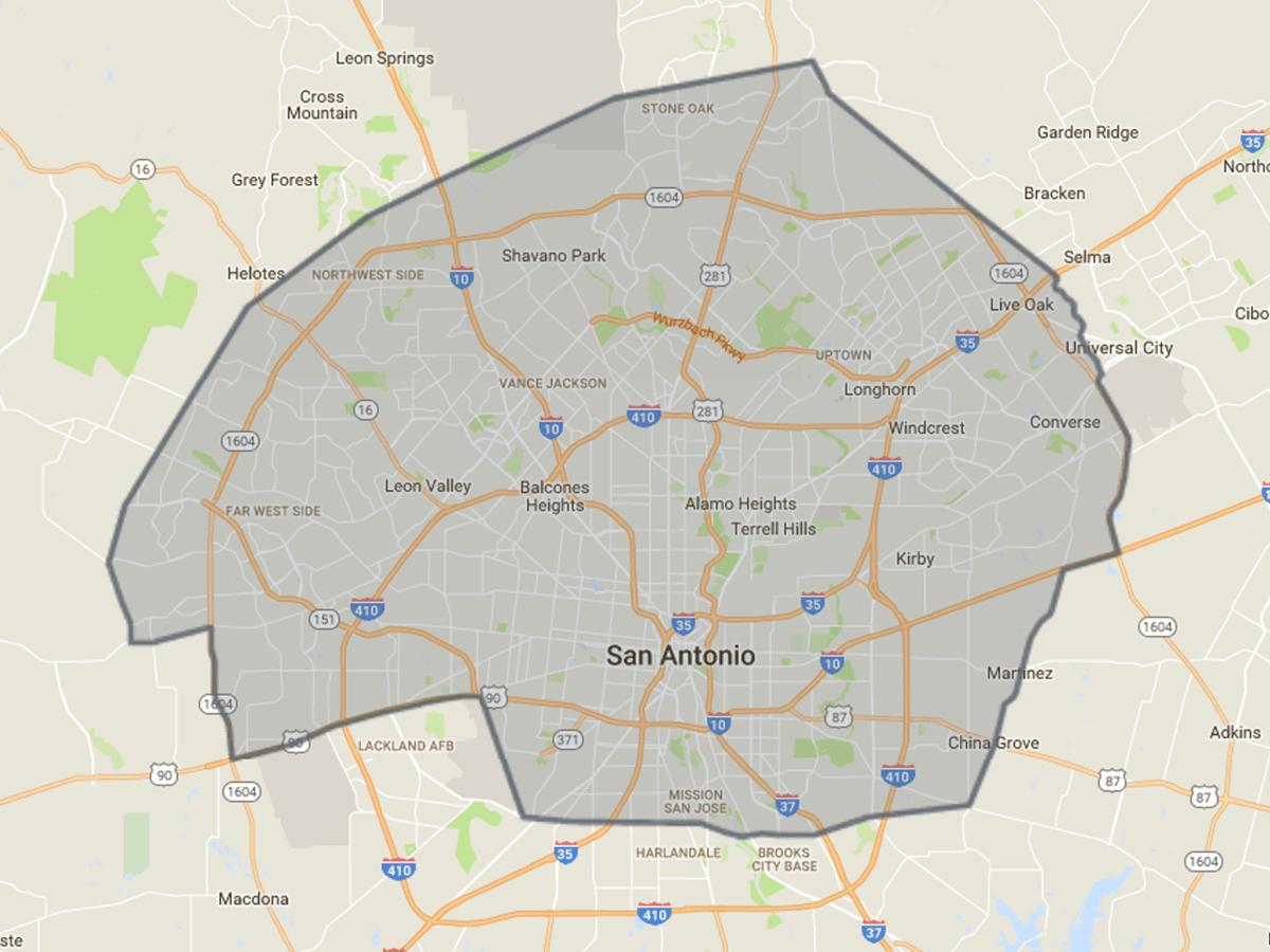Favor delivery zone map San Antonio July 2017