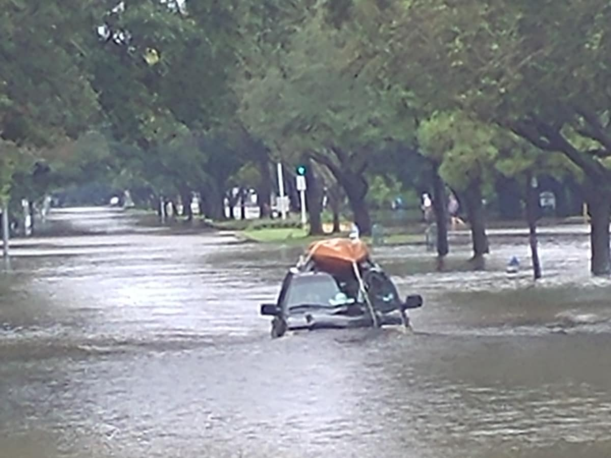 Bellaire Boulevard by the West U/Bellaire train tracks Hurricane Harvey flooding