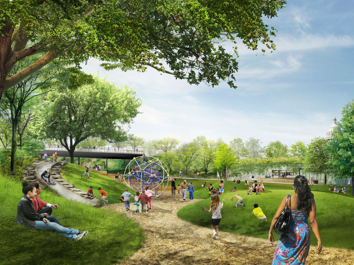 Waller Creek Plans Waterloo Park Play Lawn