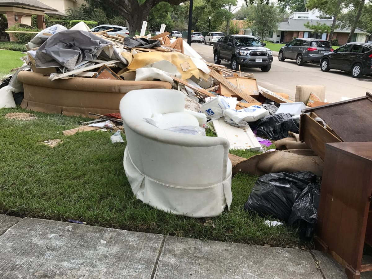 Hurricane Harvey debris in Braes Heights neighborhood