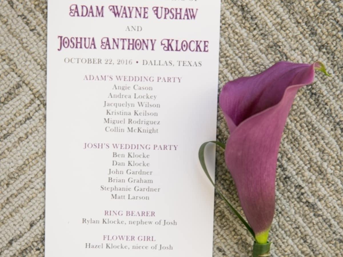 Upshaw wedding, program