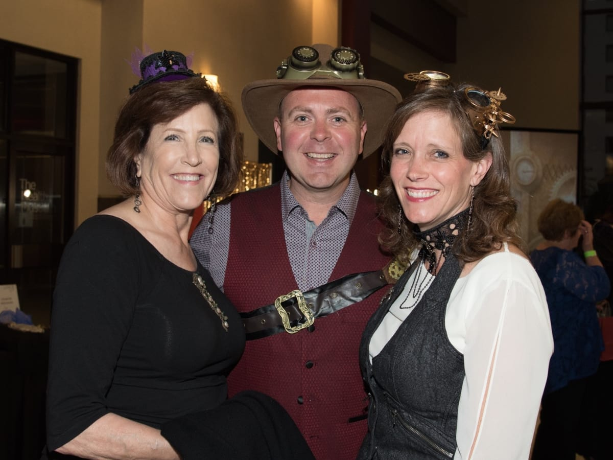 Trudi Hutchings, Ariana Minton, Stephen Minton at Health Museum Steampunk gala
