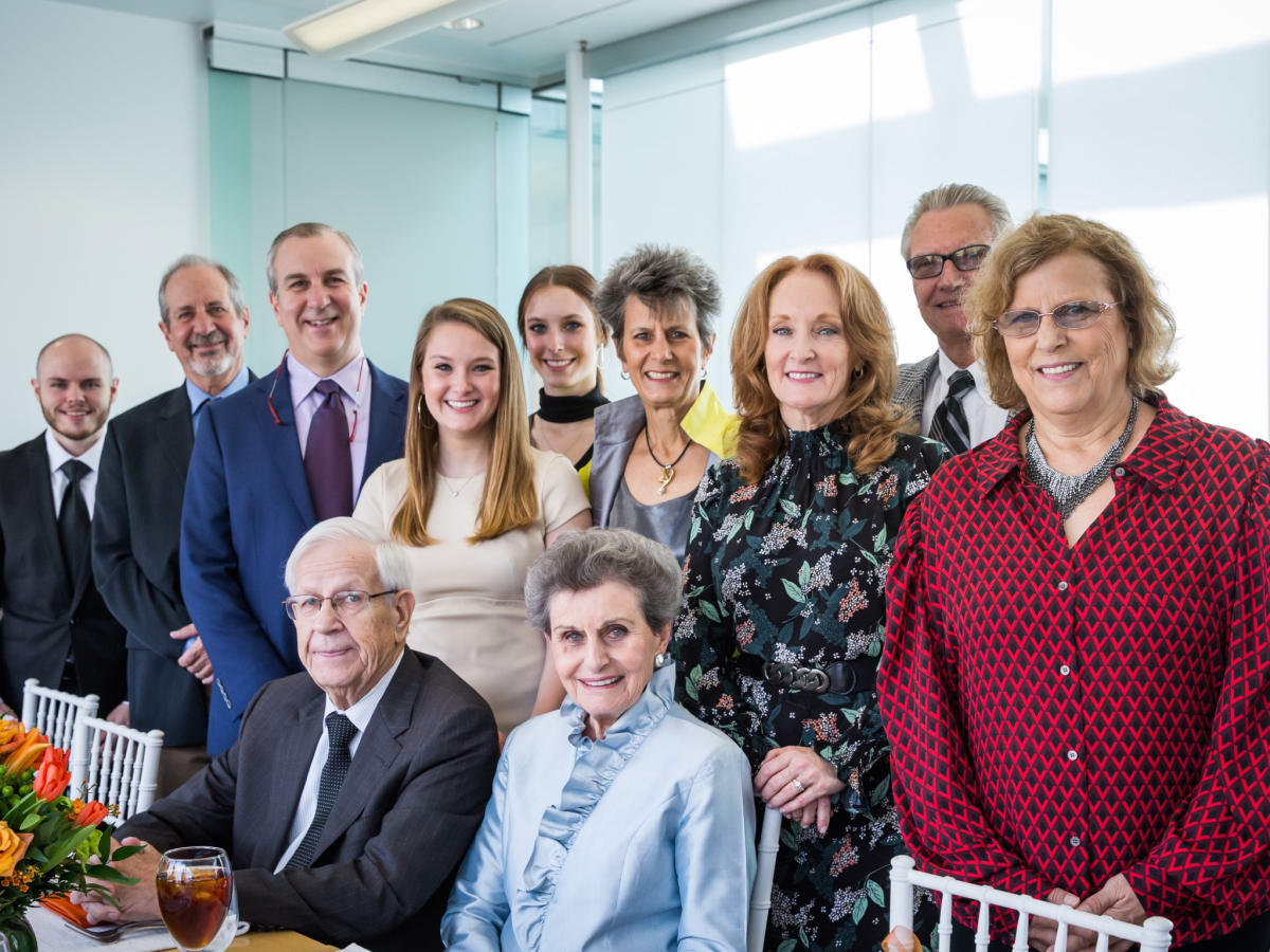 Robert and Jane Cizik with their family at a luncheon immediately following the announcement of UTHealth Cizik School of Nursing