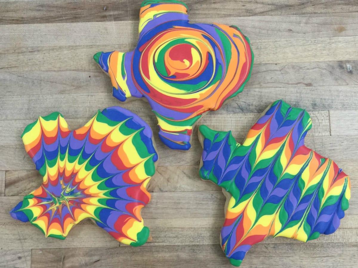 Quack's ATX tie dye cookies
