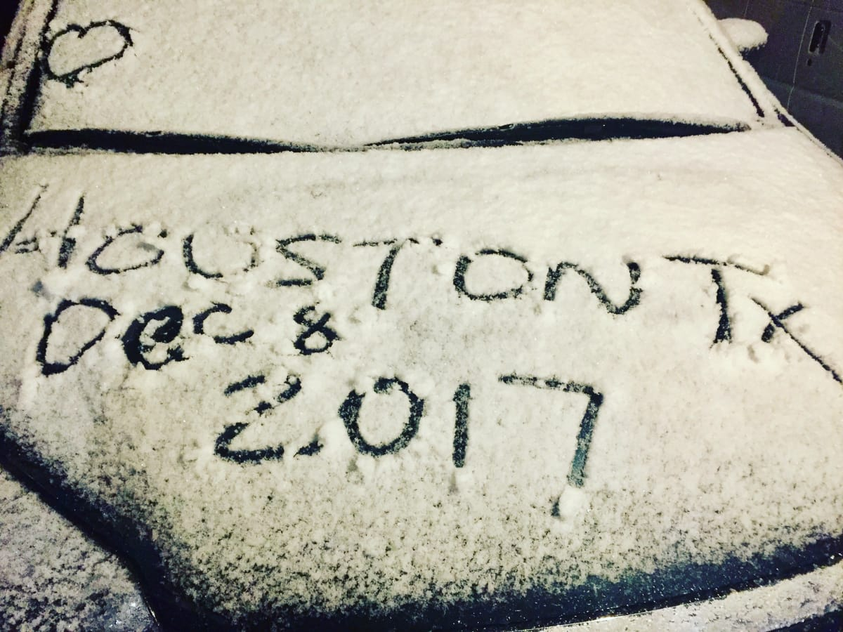 Houston drawn on snow car
