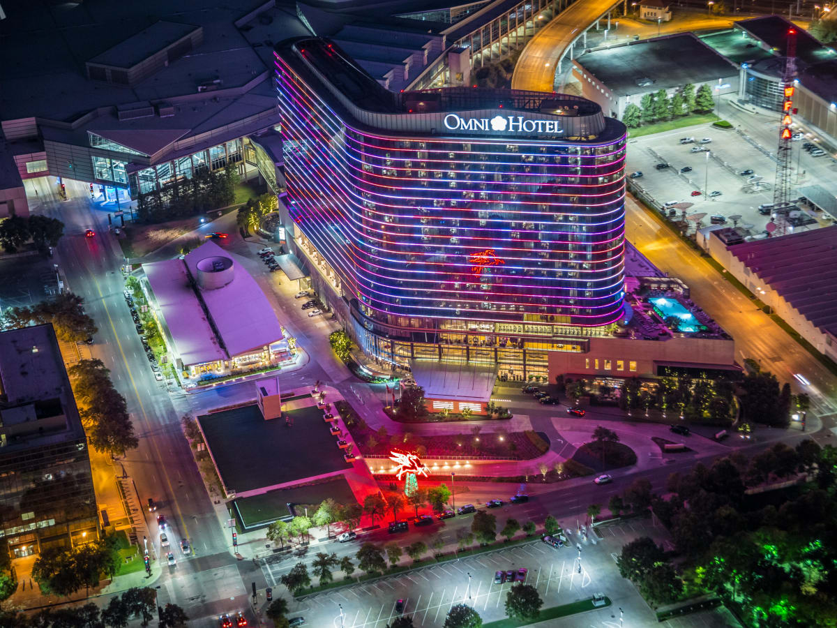 Omni Dallas hotel aerial at night