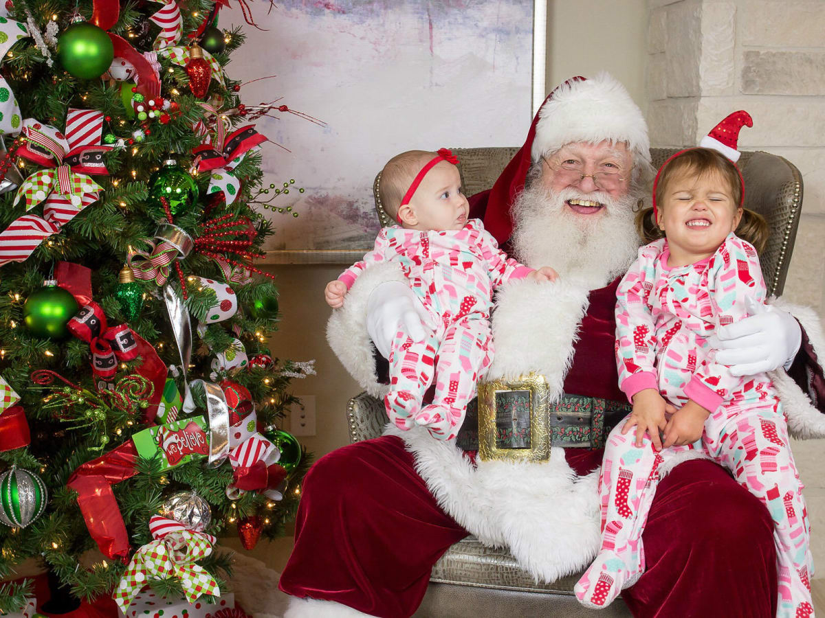 Santa and two little girls