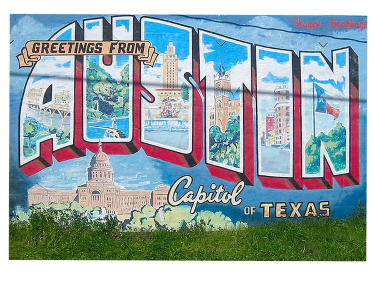 Hip south austin hood named coolest in the country culturemap austin greetings from austin mural on south first street m4hsunfo