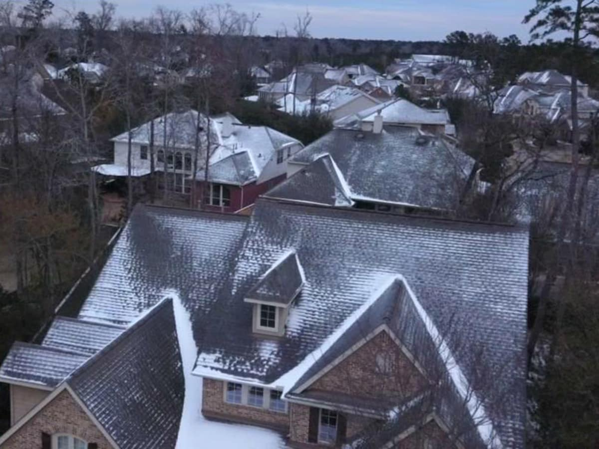 Houston drone footage ice on roofs ABC-13
