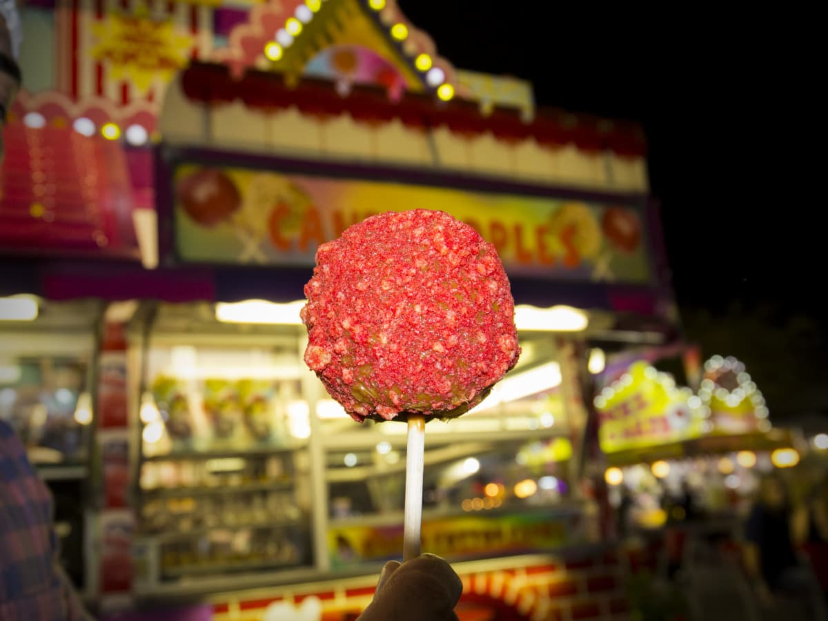 Rodeo Carnival Cheeto caramel apple