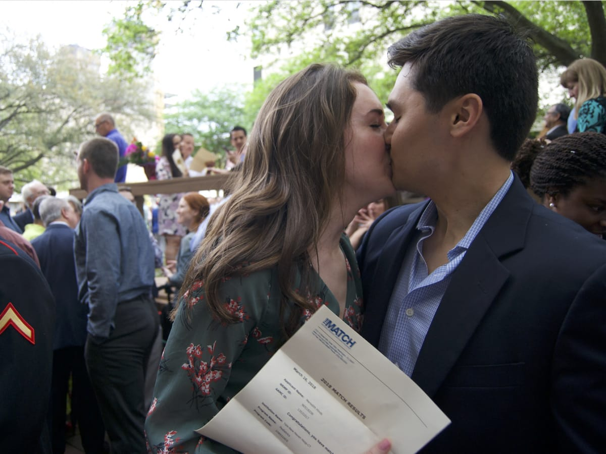 Match Day Houston Meredith Hinds Justin Nguyen kissing