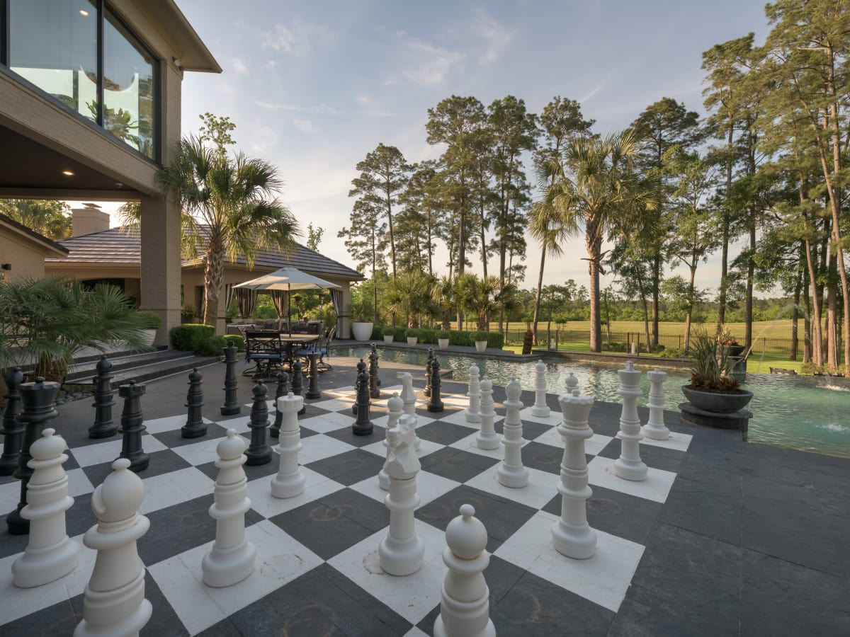 Woodlands three-story closet 47 Grand Circle exterior  chess pieces