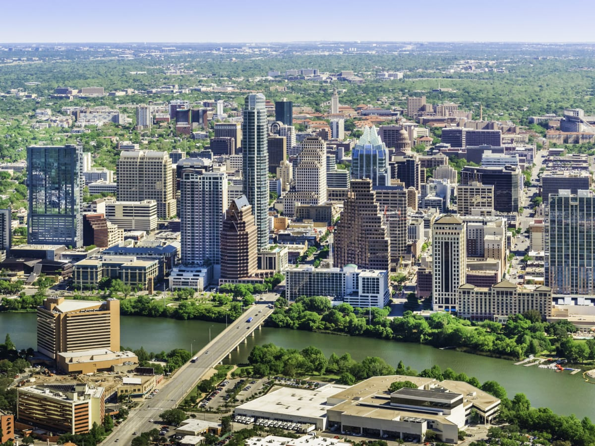 Austin aerial skyline with downtown