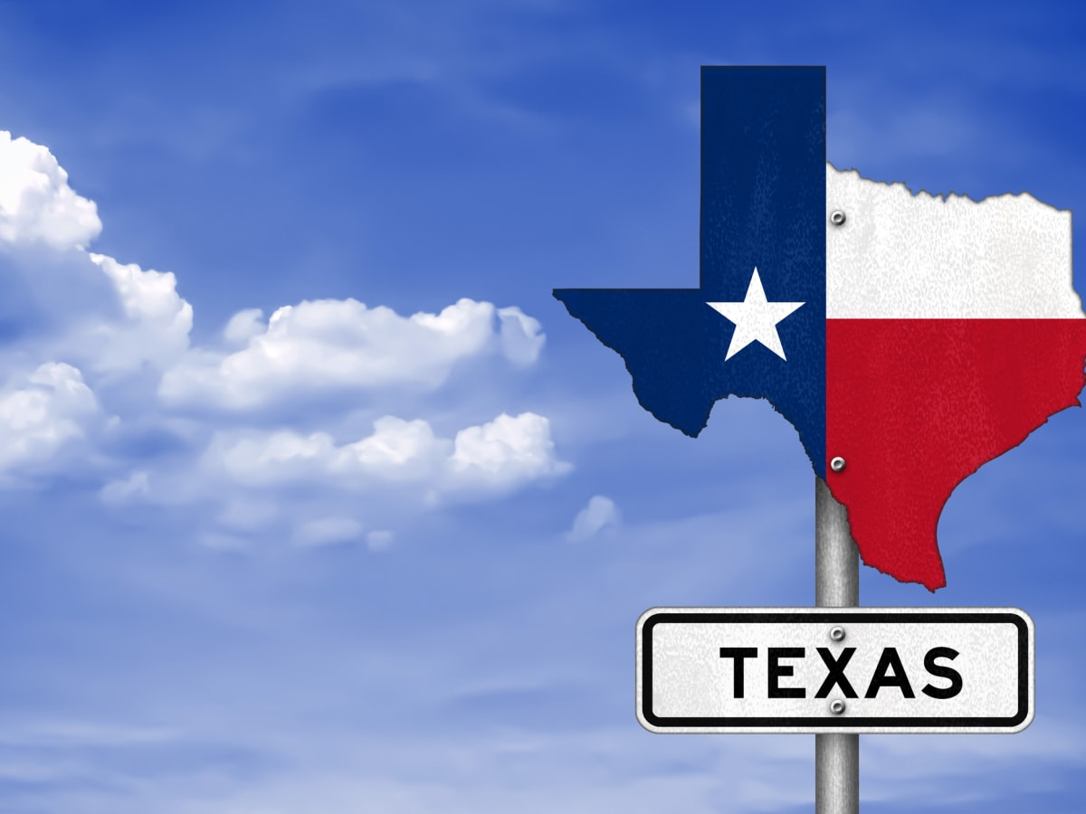 Texas state flag road sign