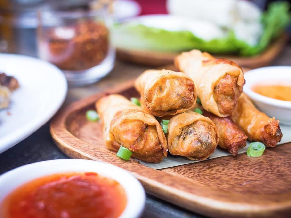 Songkran Thai crispy chicken and shrimp roll