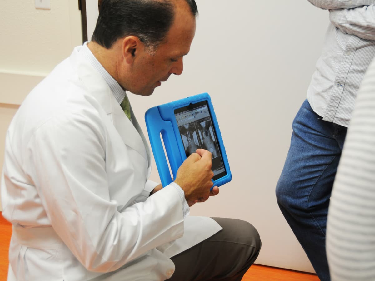 Dr. Daniel J. Sucato explains an x-ray