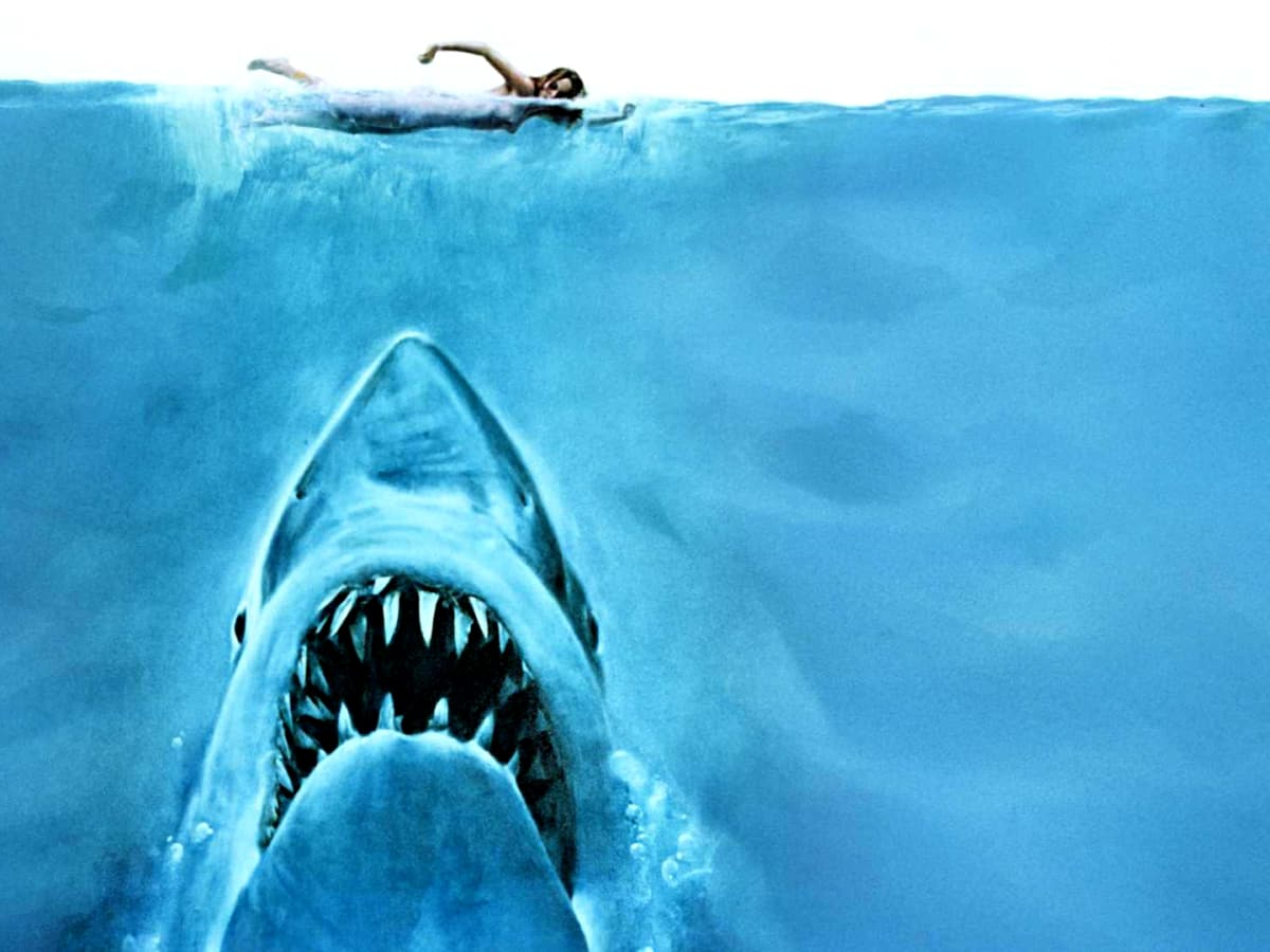 Jaws movie promo pic Great White Shark swimming girl