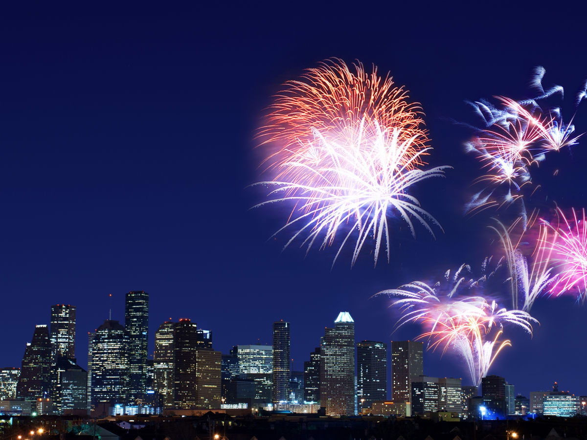 Fireworks Houston skyline