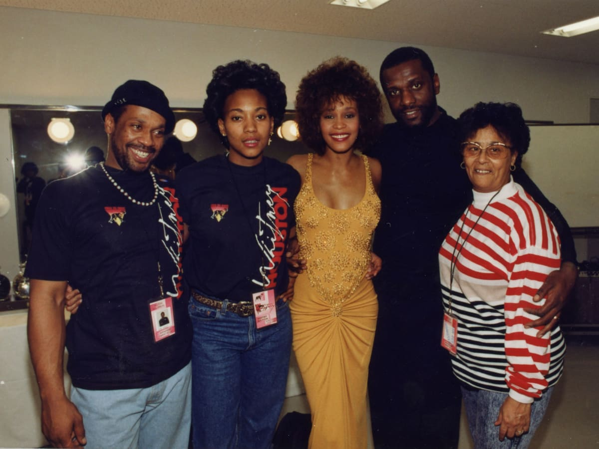 "Michael Houston, Robyn Crawford, Whitney Houston, Gary Houston, and Ellen ""Aunt Bae"" White in Whitney"