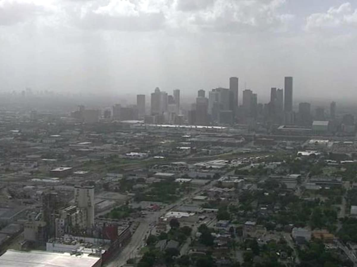 Houston haze Africa dust downtown skyline