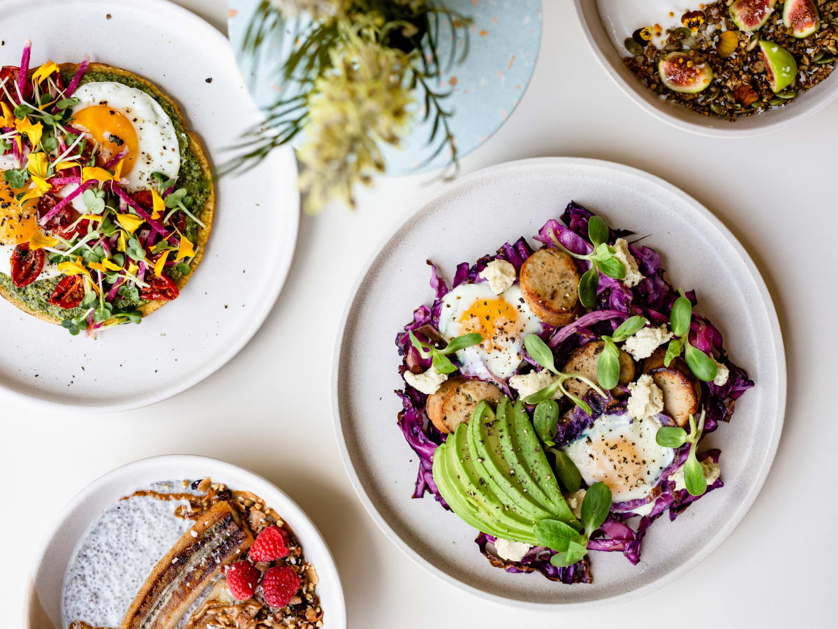 Vibrant Breakfast Breakfast Socca, Baked Egg Skillet, Coconut Chia Pudding, Yogurt Bowl