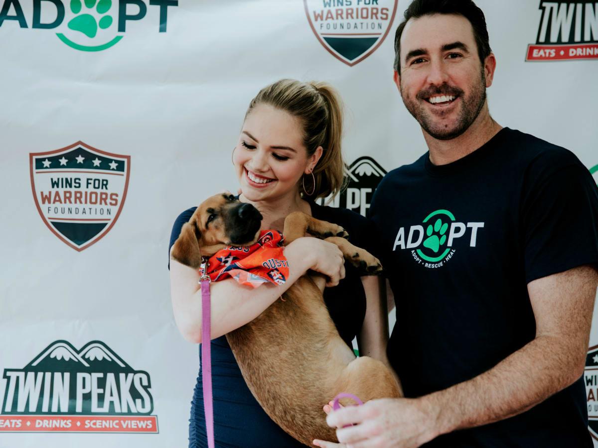 Justin Verlander Kate Upton dog adoption Minute Maid Park