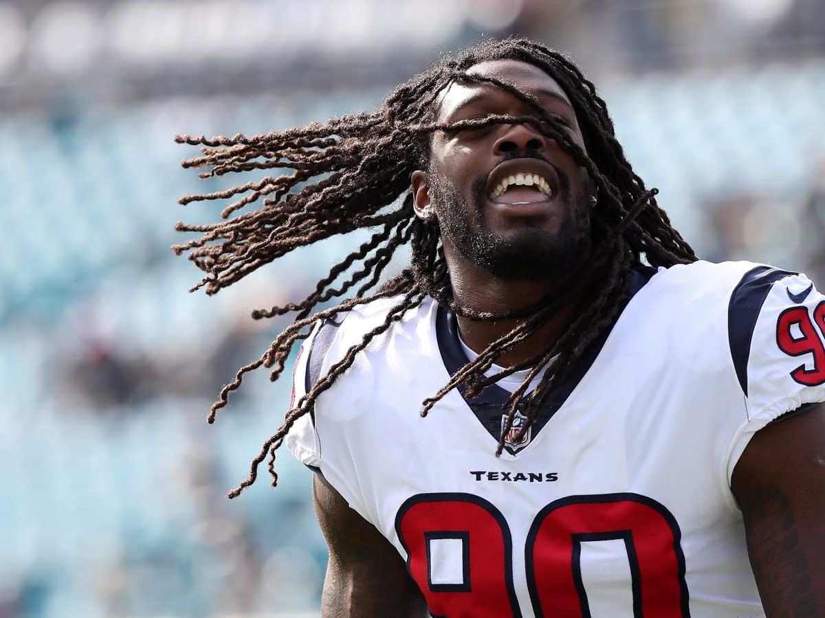 Jadeveon Clowney hair no helmet Houston Texans