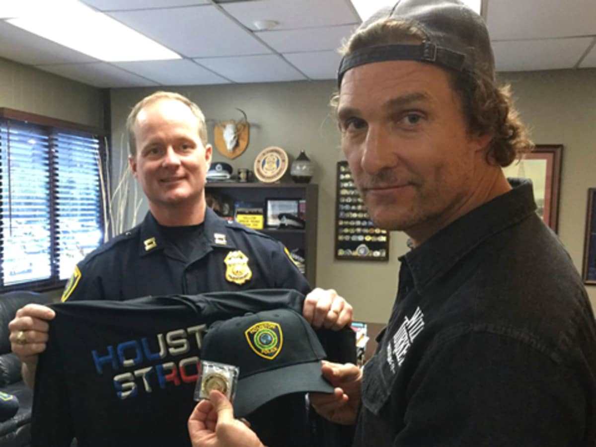 Matthew McConaughey Houston visit police fire dept mayor