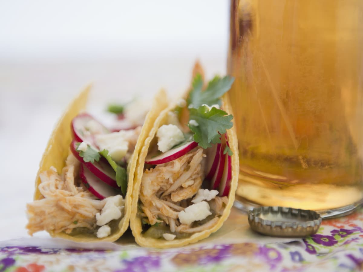Tacos and beer closeup