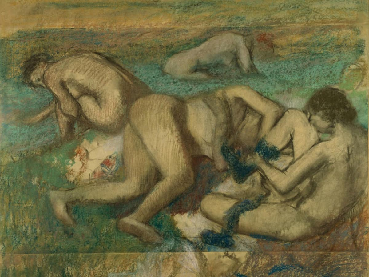 Edgar Degas, The Bathers, c. 1895.  Pastel and charcoal on tracing paper, pieced and mounted on cardboard