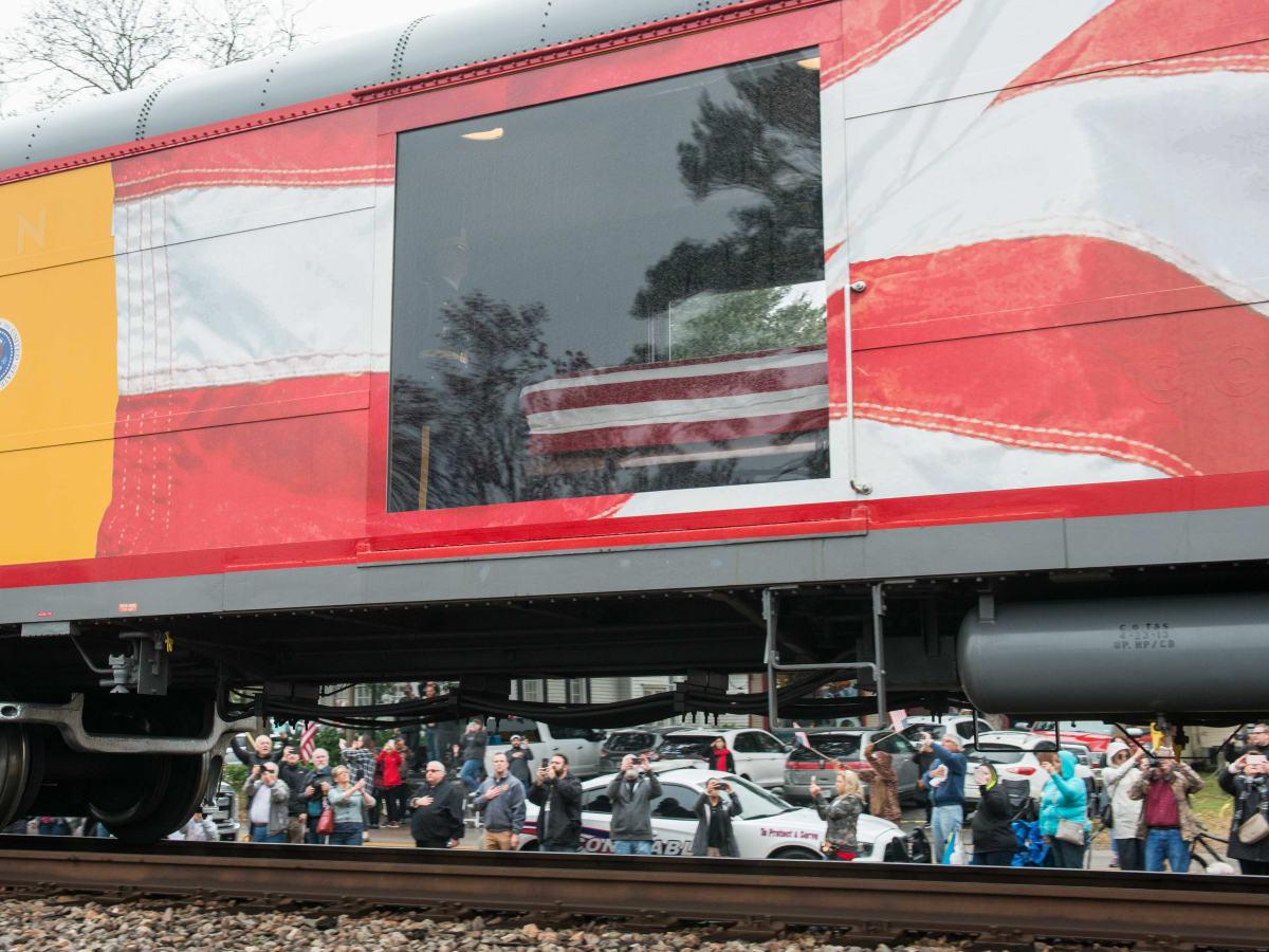 President Bush train 4141 procession Spring casket window