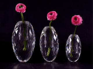 Veritas Glass Diamond Faceted Egg Vases
