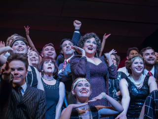 Julie Johnson and cast in Lyric Stage's Mame